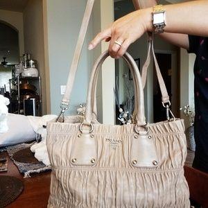 Authentic Prada Tan Leather Saffiano Handbag